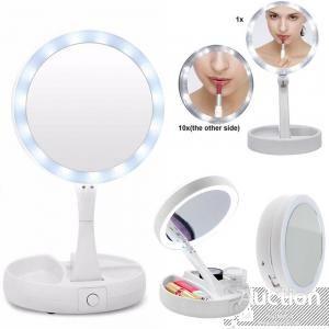 Складное зеркало для макияжа с Led подсветкой круглое увеличительное