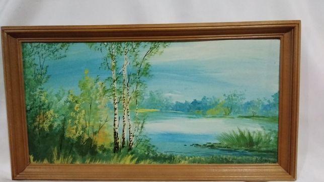 Картина 30х55см. маслом в деревянной буковой рамке.