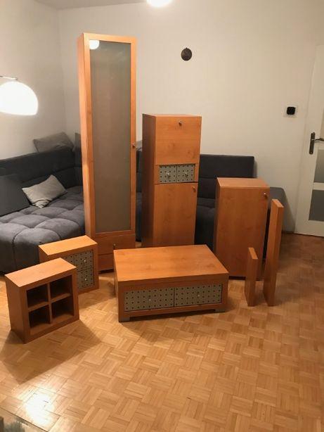 ZESTAW MEBLI: stolik RTV, witryna szafka, regał, półki szuflady, barek
