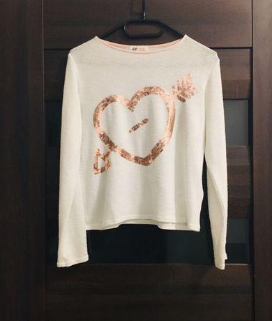 Biała bluzka z dzianiny z sercem złote cekiny H&M 158-164