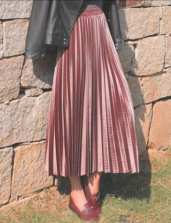 Piękna spódnica plisowana aksamit..blogerska..