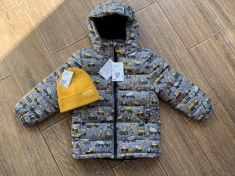 Зимняя куртка еврозима H&M Next 6-7 116-122 мальчику машинки