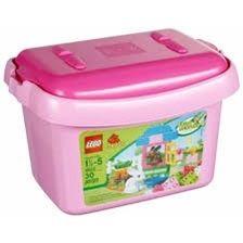 5585 Лего Дубло для девочек Розовый ящик с кубиками