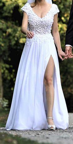 SUKNIA ślubna kwiatki 3d ślub wesele dekolt na plecach z rozcięciem
