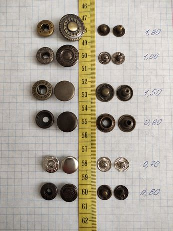 Кнопки,блочки,хольнитены,пуговицы металл