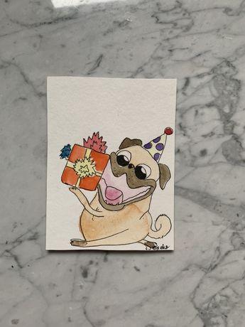 Kartka okolicznościowa urodzinowa mops mopsik pug prezent handmade