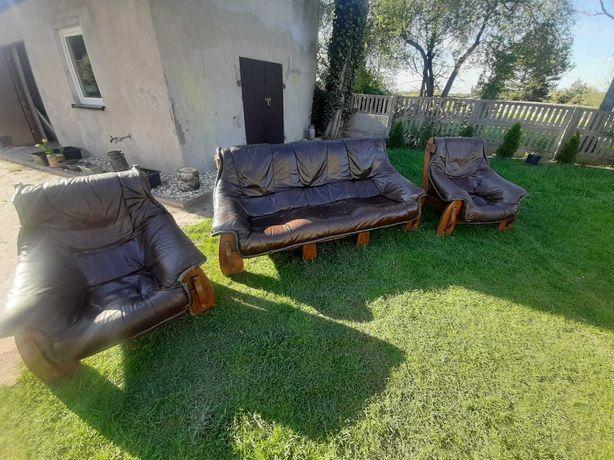 Skórzany zestaw wypoczynkowy (kanapa + 2 fotele)