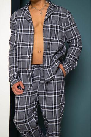 Мужская пижама байка в клетку, 5 цветов