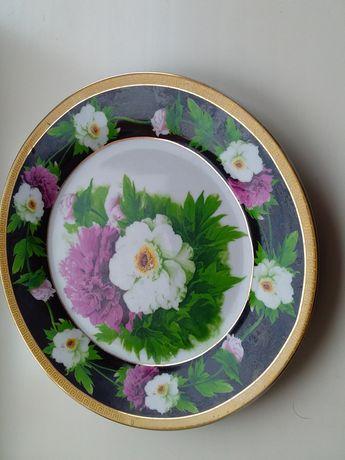 Тарелка десертная с пионами