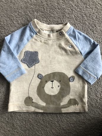 Bluzka bezowo niebieska NEXT - newborn