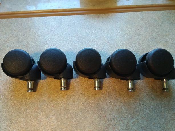 Kółka jezdne krzesła fotele obrotowe 5 sztuk= 1kpl.