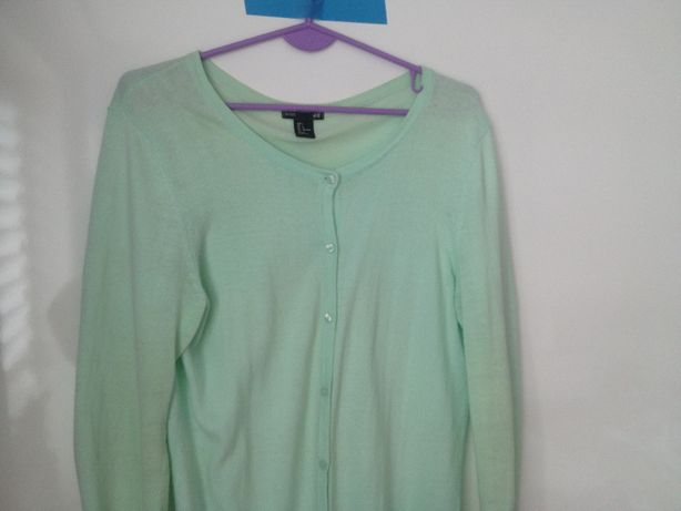 Sweter H&M 100% BAWEŁNA r 42 (14) Miętowy damski rozpinany