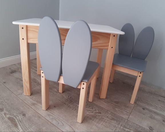 Meble drewniane dla dzieci stolik dwa krzesełka 92-116cm wrostu