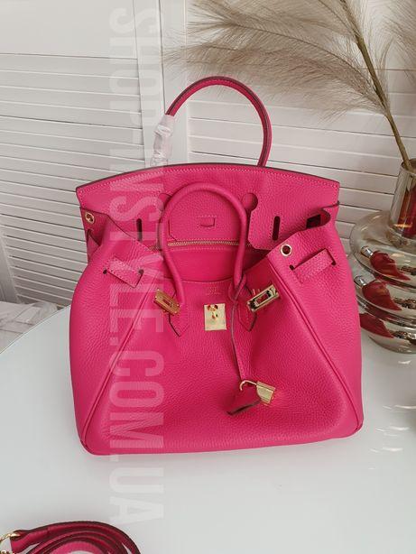 Малиновая кожаная женская сумка Hermes Birkin 30см, 25см. Кожа, люкс.