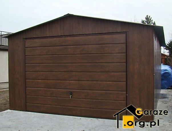Garaże Blaszane Drewnopodobne Orzech 4x6 Garaż Blaszany + drzwi boczne