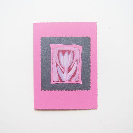 tulipan kartka różowa, pastelowa kartka ręcznie robiona z tulipanem