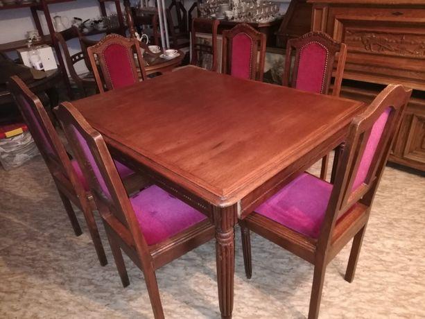 Stół i 6 krzeseł - komplet antyk, pałacowy róż
