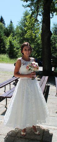 suknia ślubna rozm. 36 Ecru koronka