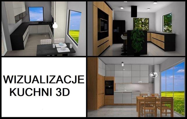 Wizualizacja 3D projekt kuchni, szafy w zabudowie, garderoby od 90zł