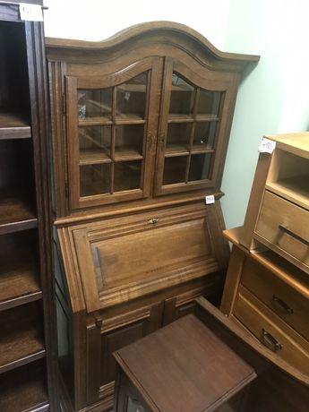 Sekretarzyk piękny wysoki drewniany dębowy biurko komoda wąski DOWÓZ
