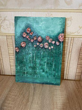 Картина для интерьера маслом на подрамнике, 25*35 см.Объёмные розы