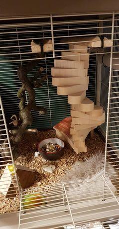 Drewniane schodki, element do gryzonia klatki