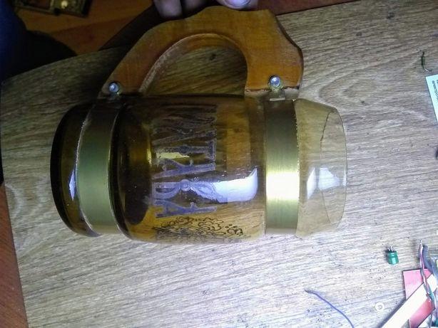 """бокал """"Полтава"""", стекло, с деревянными ручками, кружка пивная, сувенир"""