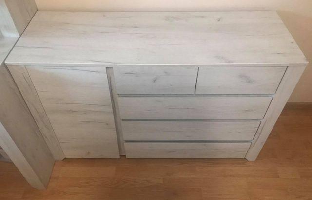 Komoda szafka z szufladami i półkami białe drewno