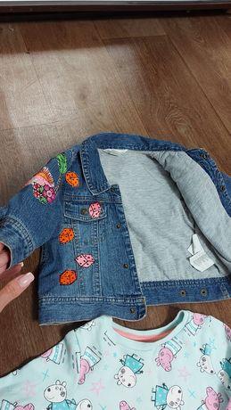 Джинсовый пиджак, катонка, штаны кити, кофта пеппа