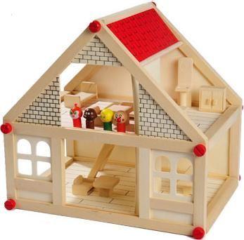 деревянный домик кукольный разборной с мебелью