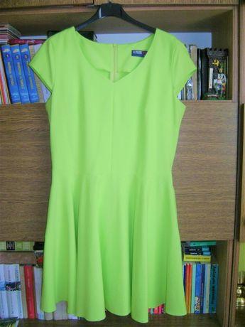 Seledynowa odblaskowa sukienka L
