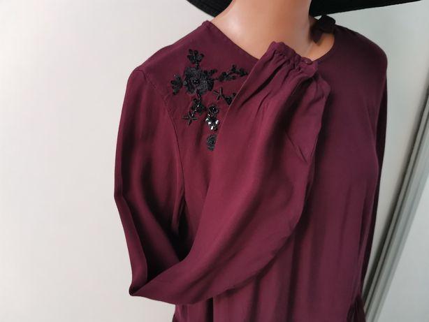 Sukienka Mohito L 40 M 38 oversize ciążowa kolor wina burgundowa