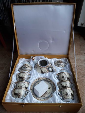 Serwis do herbaty i kawy paw beżowy