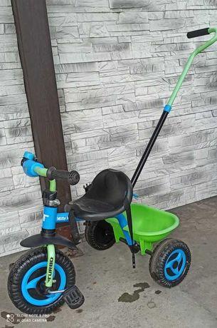 Rower rowerek trójkołowy z pchaczem Milly Mally turbo zielony