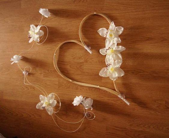 Dekoracja samochodu do ślubu, ozdoby weselne orchidea, róże, róża