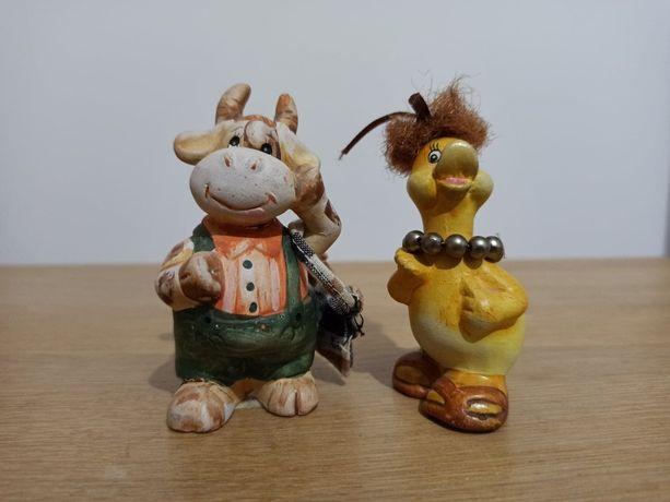 Ceramiczne figurki zwierzęta krowa kaczka