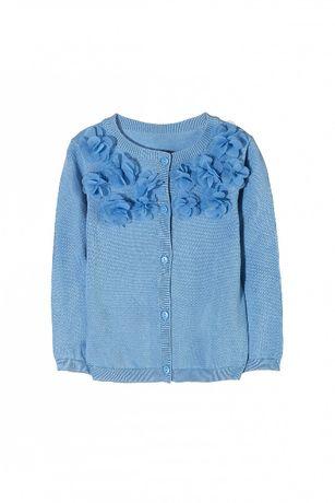 5.10.15 Max&mia sweterek kwiatki niebieski r 122 128