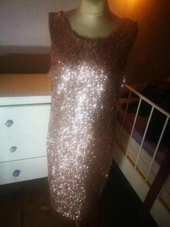 Różowe złoto sukienka cekiny