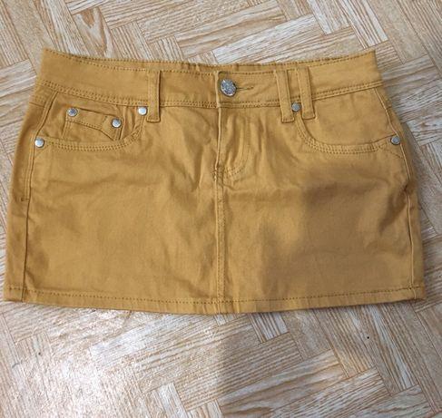 Джинсовая коричневая мини юбка