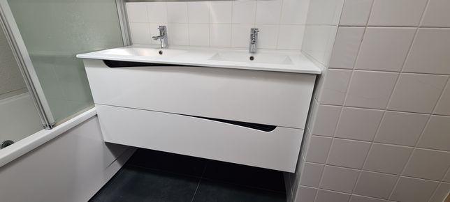 Movel casa de banho 120cm c/ lavatório dupla pia