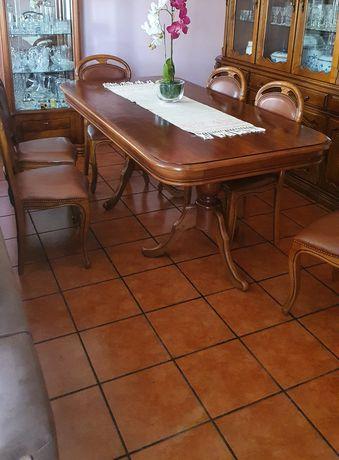 Mesa de sala madeira + 6 cadeiras