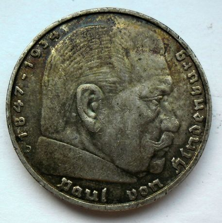 niemiecka moneta srebrna z 1936r Hindenburg