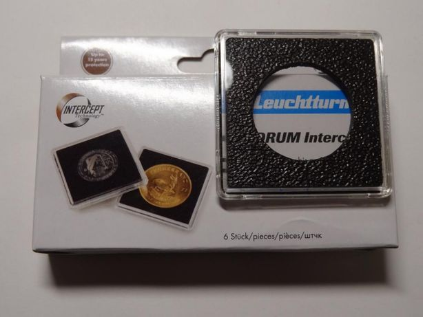 Квадратная капсула QUADRUM Intercept 50х50 мм, с вырезом для монеты