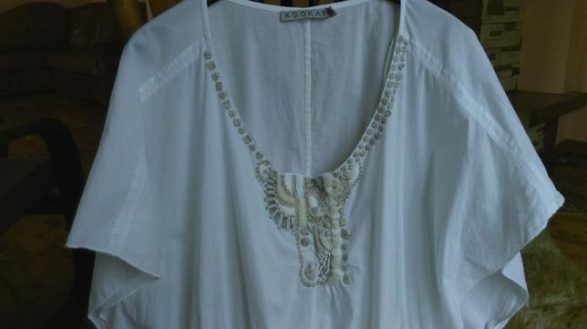 Biała Sukienka Tunika Hafty Cudna