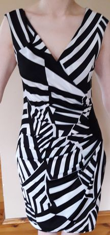 Sukienka H&M 38 biało czarna