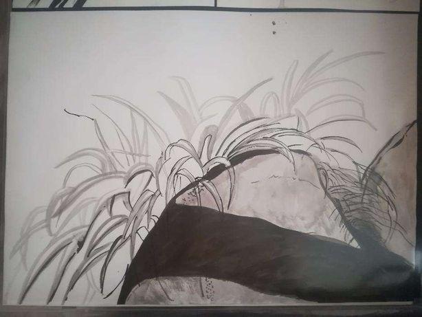 Pintura desenho vegetação e pedras tinta-da-china