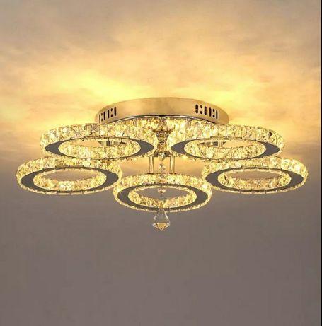Żyrandol kryształowy LED PLAFON Nowoczesna Lampa Sufitowa