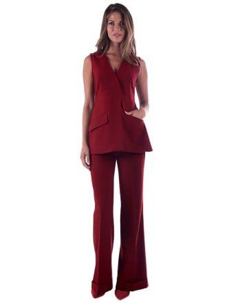 2-częściowy zestaw w kolorze bordowym: spodnie + bluzka - XXL