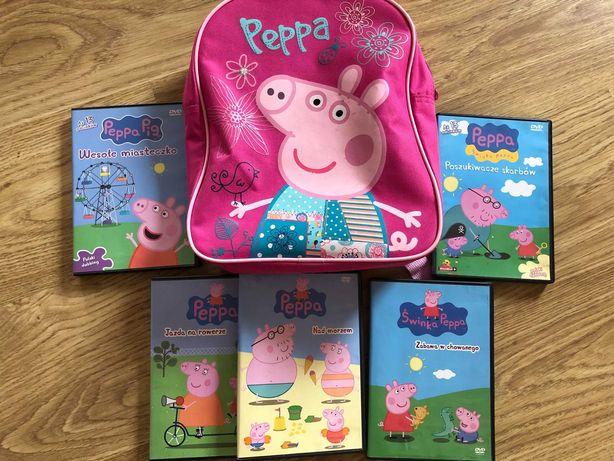 plecak i płyty DVD swinka Peppa