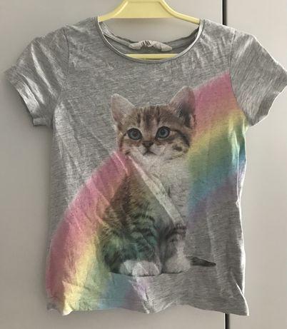 H&M koszulka z kotkiem 110/116 cm